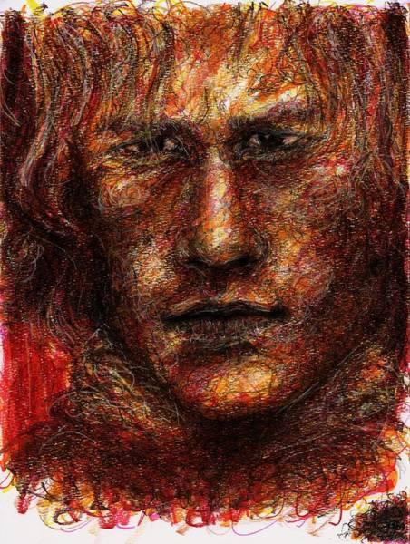 Drawing - Heath Ledger - Red by Rachel Scott
