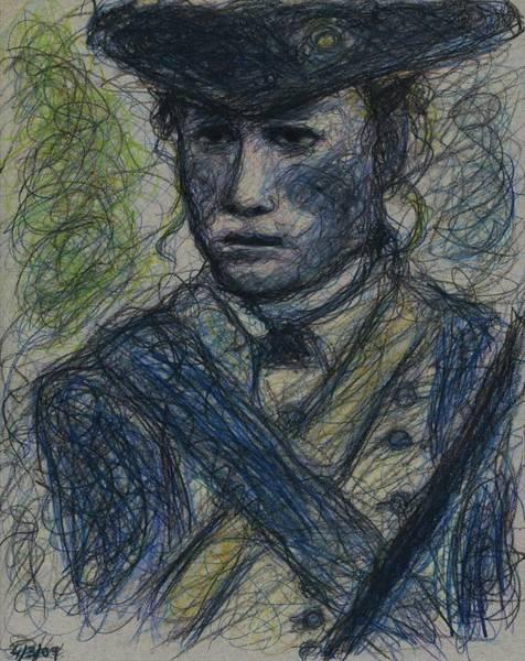 Drawing - Heath Ledger - The Patriot by Rachel Scott