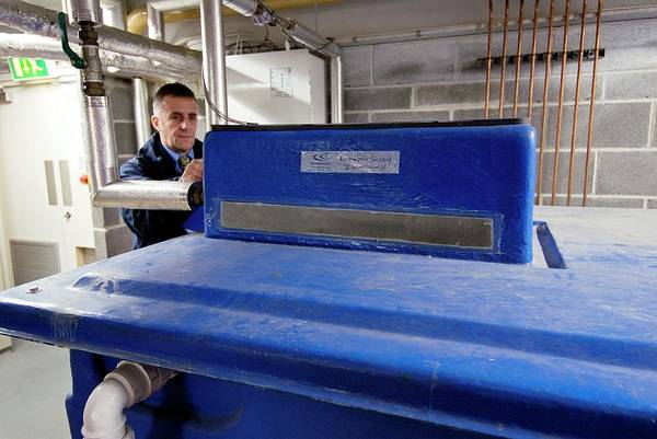 Eco-system Photograph - Heating And Cooling System Rainwater Tank by Simon Fraser/science Photo Library