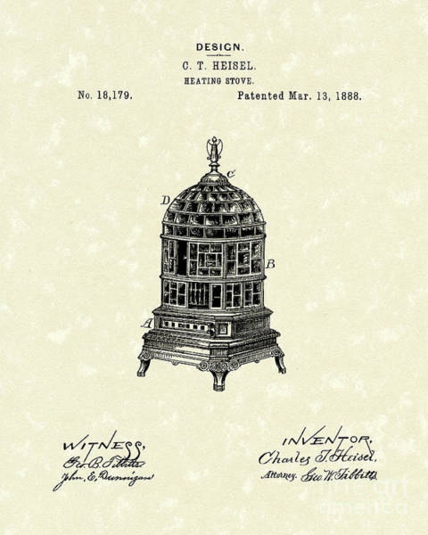 Drawing - Heating Stove 1888 Patent Art by Prior Art Design
