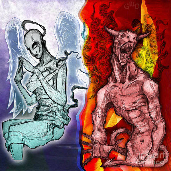 Painting - Heaven And Hell - New School Tattoo Art by Gregory Dyer