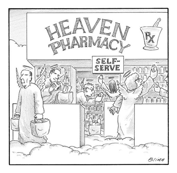 Heaven Drawing - Heaven Pharmacy Features Angels Loading by Harry Bliss