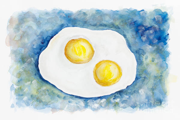 Protein Painting - Heavenly Flying Fried Eggs  by Irina Gromovaja