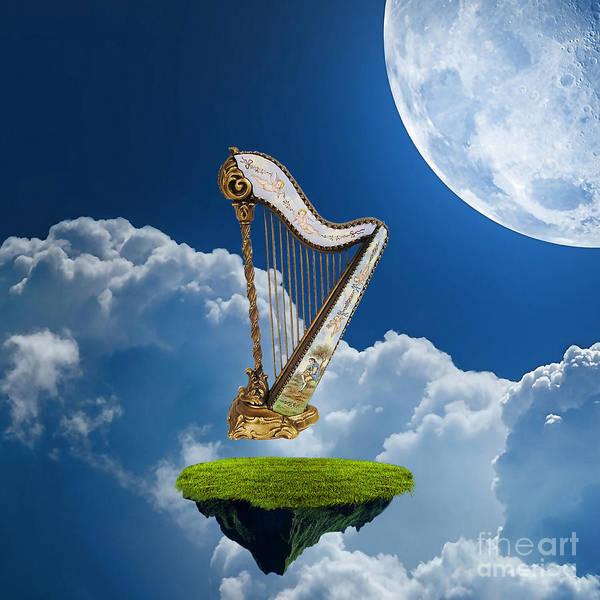 Harp Mixed Media - Heavenly Harp by Marvin Blaine