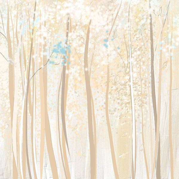 Painting - Heavenly Woods- Teal And White Art by Lourry Legarde