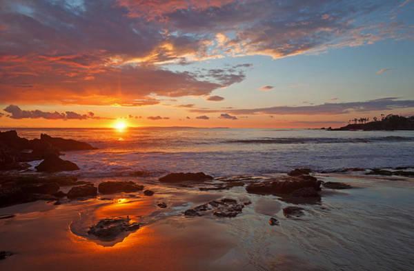Photograph - Sunset Reflections Divers Cove Laguna Beach by Cliff Wassmann