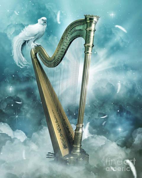 Harp Digital Art - Heaven's Harp by Jessica Allain