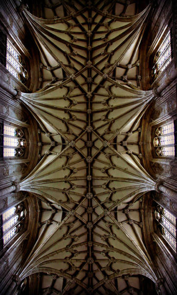 Tudor Photograph - Heavenward -- Winchester Cathedral Ceiling by Stephen Stookey