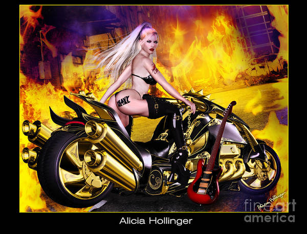 Digital Art - Heavy Metal Motorcycle Rock Babe by Alicia Hollinger