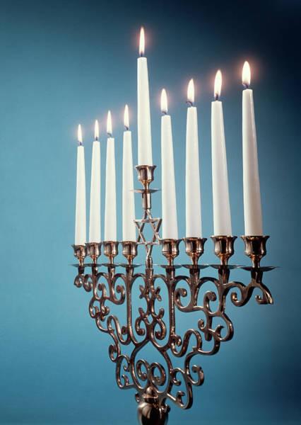 Hebrews Photograph - Hebrew Hanukkah Menorah Or Chanukiah by Vintage Images