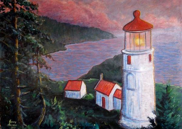 Oregon Coast Mixed Media - Heceta Lighthouse by Kenny Henson