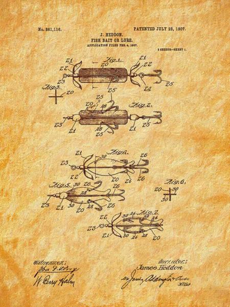 Photograph - Heddon 1907 Fishing Lure Patent Art by Barry Jones
