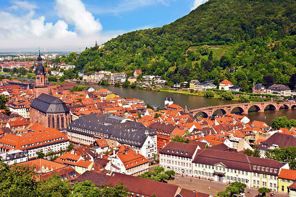Fortification Photograph - Heidelberg, Germany, A View Of The City by Miva Stock