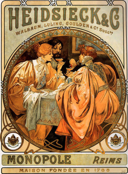 Alphonse Mucha Painting - Heidsieck Champagne Poster Advert by Philip Ralley