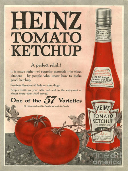 Advertising Drawing - Heinz 1910s Usa by The Advertising Archives