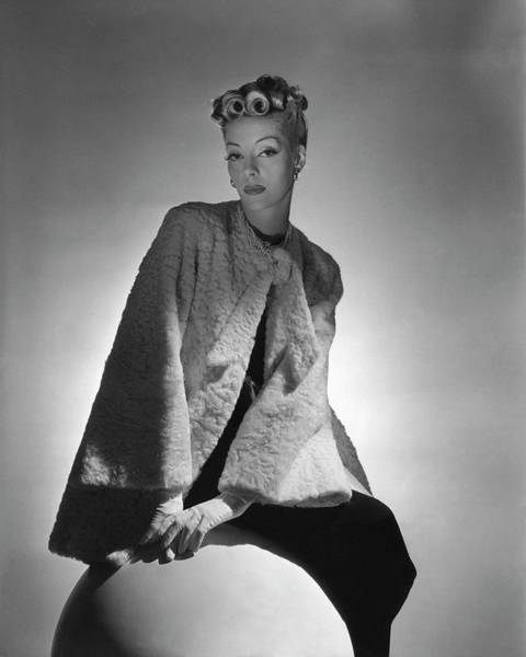 Fur Coat Photograph - Helen Bennett Wearing A Coat And Gloves by Horst P. Horst