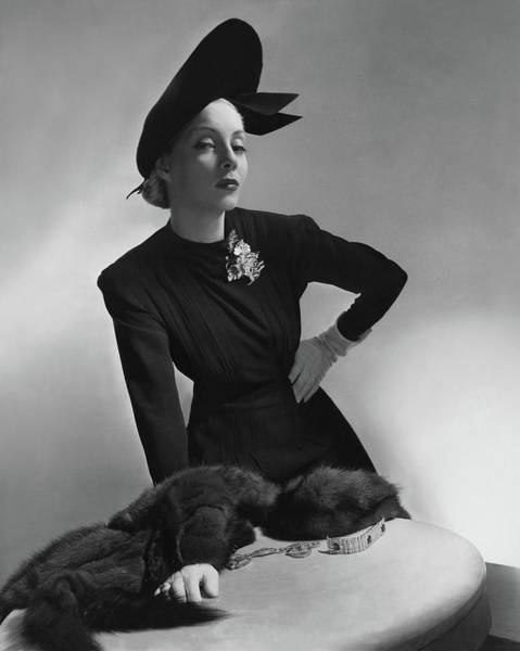 July 15th Photograph - Helen Bennett Wearing A Dress And Hat by Horst P. Horst