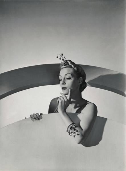 Headdress Photograph - Helen Bennett Wearing Mainbocher Jewelry by Horst P. Horst