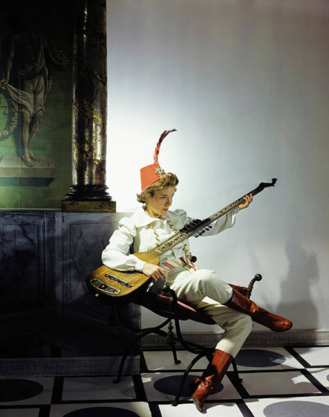 Stringed Instrument Photograph - Helen Hayes Dressed In Costume For Twelfth Night by Fredrich Baker