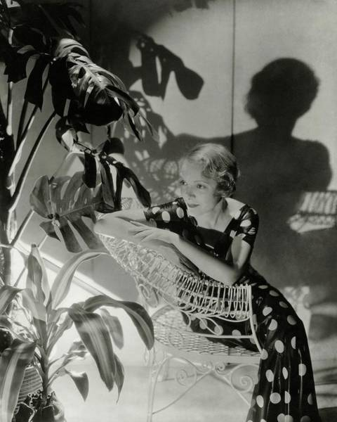 Furniture Photograph - Helen Hayes Sitting By A Potted Plant by Cecil Beaton
