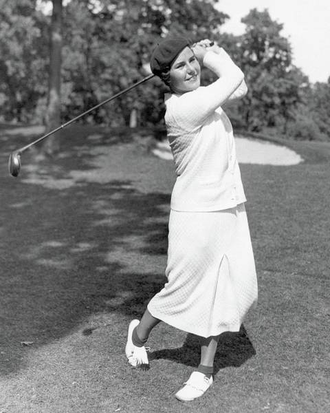 Outdoor Photograph - Helen Hicks Playing Golf by Acme