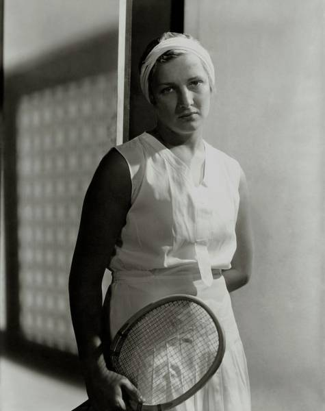 Headband Photograph - Helen Jacobs Holding A Tennis Racket by Horst P. Horst