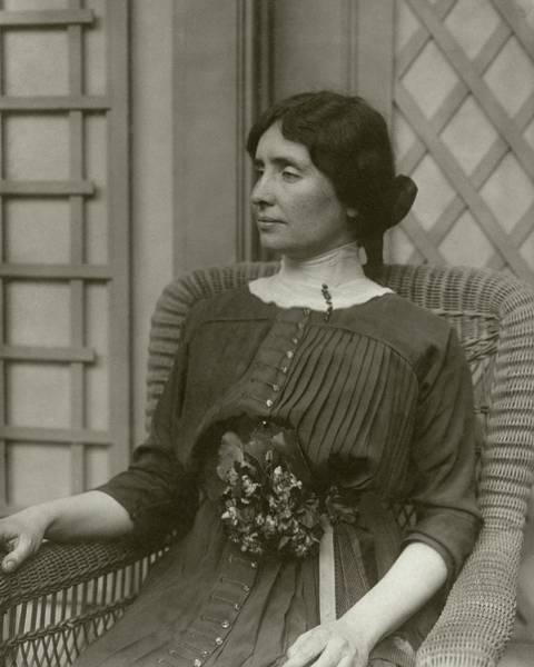 Trellis Photograph - Helen Keller In A Rattan Chair by George Grantham Bain