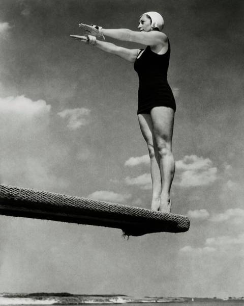 Water Sports Photograph - Helen Meany On A Diving Board by Edward Steichen