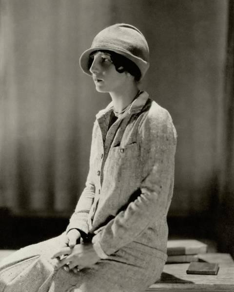 Furniture Photograph - Helen Wills Wearing A Tweed Suit by Edward Steichen