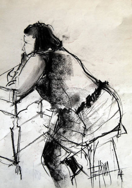 Impressionist Drawing - Helene #2 - Figure Series by Mona Edulesco