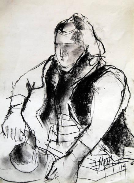 Impressionist Drawing - Helene #3 - Figure Series by Mona Edulesco