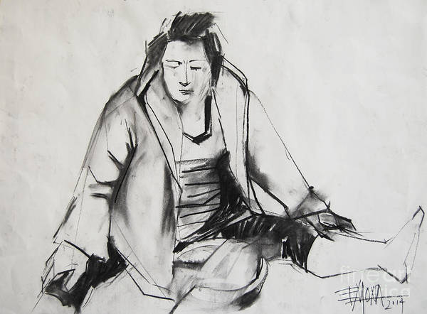 Wall Art - Drawing - Helene #6 - Figure Series by Mona Edulesco