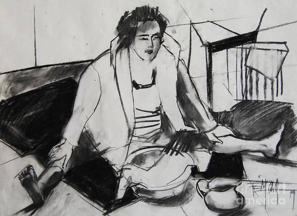 Impressionist Drawing - Helene #7 - Figure Series by Mona Edulesco