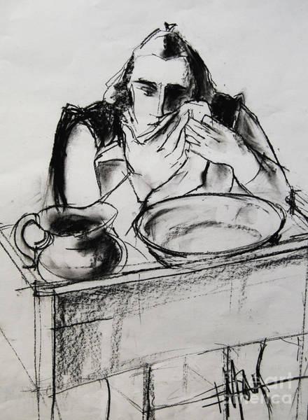 Impressionist Drawing - Helene #8 - Figure Series by Mona Edulesco