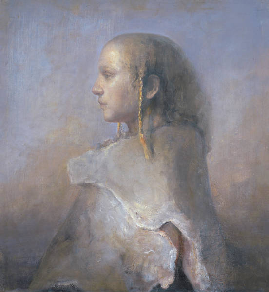 Braid Painting - Helene In Profile  by Odd Nerdrum