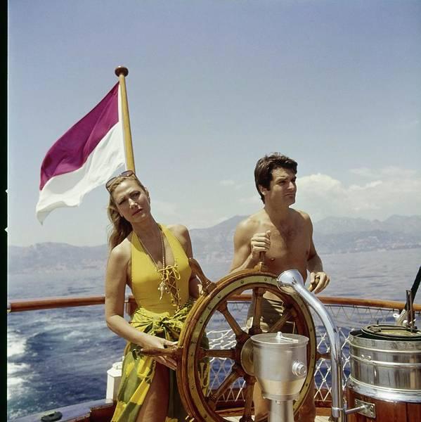 Wheel Photograph - Helene Rochas On Her Yacht by Horst P. Horst