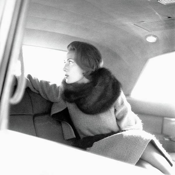 Car Photograph - Helene Rochas Wearing Nina Ricci by Karen Radkai