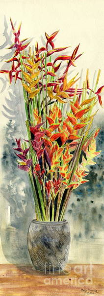 Heliconia Wall Art - Painting - Heliconia Bouquet by Melly Terpening