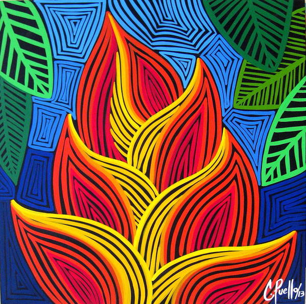 Textura Wall Art - Painting - Heliconia En Mola by Claudia Puello