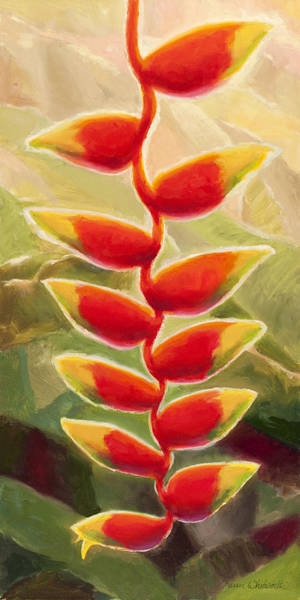 Heliconia Wall Art - Painting - Heliconia Glow Tropical Jungle Floral by Karen Whitworth
