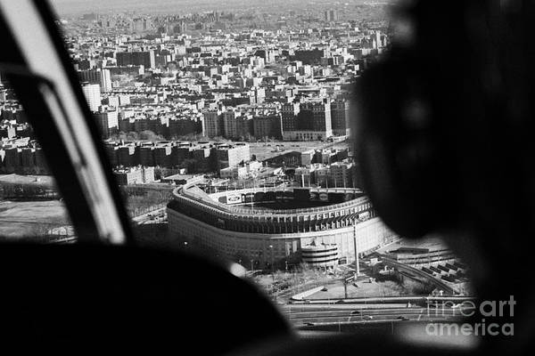 Copter Photograph - Helicopter  Flies Over Yankee Stadium New York City by Joe Fox