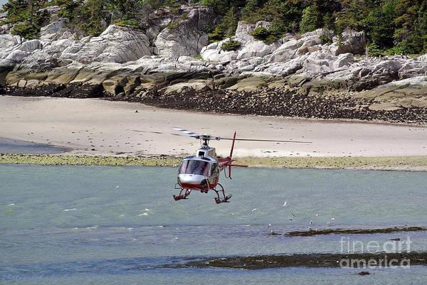 Helicopter Landing In Skagway Art Print