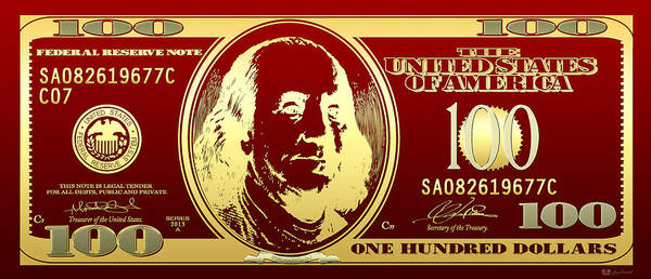 Digital Art - Hello Benjamin - Golden One Hundred Dollar Us Bill On Red by Serge Averbukh