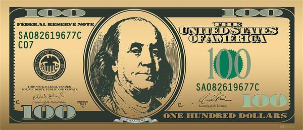 Digital Art - Hello Benjamin - Us One Hundred Dollar Bill On Gold by Serge Averbukh