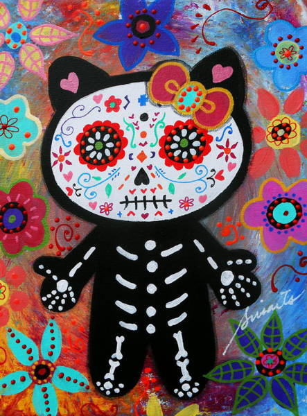 Hello Kitty Wall Art - Painting - Hello Kitty Dia De Los Muertos by Pristine Cartera Turkus