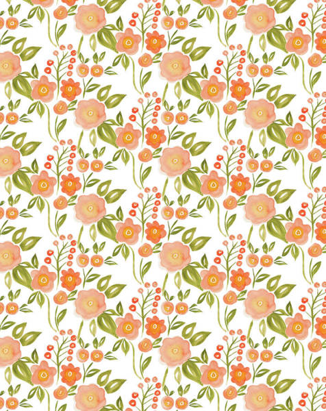 Hello Painting - Hello Spring Collection Floral Repeat One White by MGL Meiklejohn Graphics Licensing