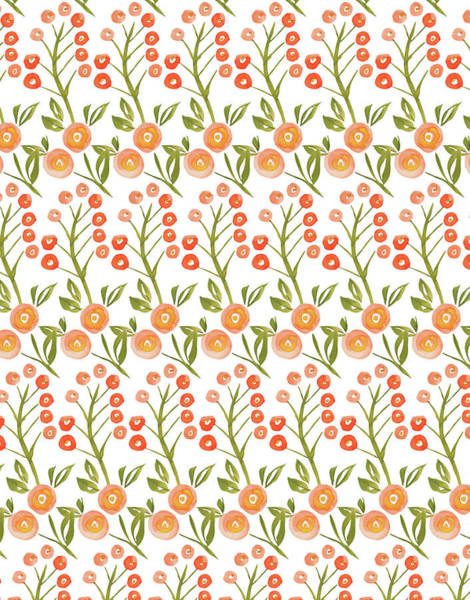 Wall Art - Painting - Hello Spring Collection Floral Repeat Three Berries White by MGL Meiklejohn Graphics Licensing