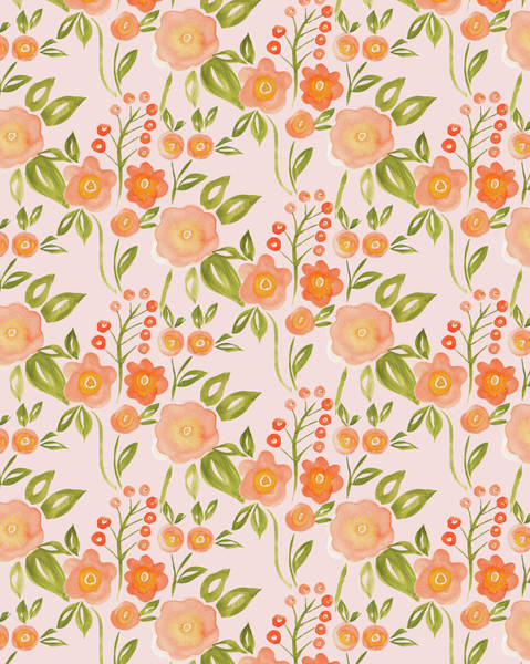 Wall Art - Painting - Hello Spring Collection Floral Repeat Two Peach by MGL Meiklejohn Graphics Licensing