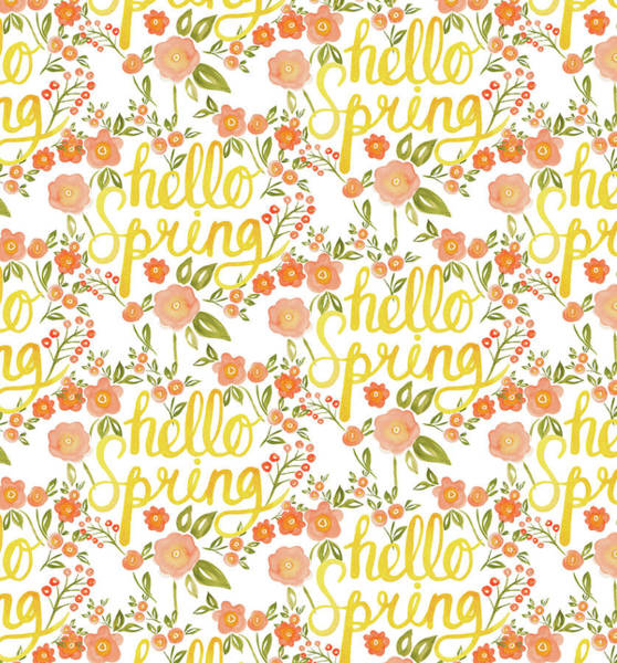 Wall Art - Painting - Hello Spring Repeat Five Handwritten by MGL Meiklejohn Graphics Licensing