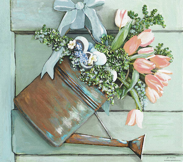 Watering Can Painting - Hello There Spring by Jo Moulton